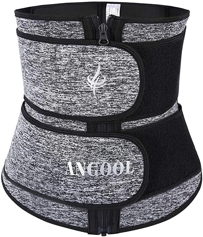 ANGOOL Neopren Waist Trainer for Women,Workout Plus Size Trimmer Belt Sauna Sweat Corset Cincher with Zipper