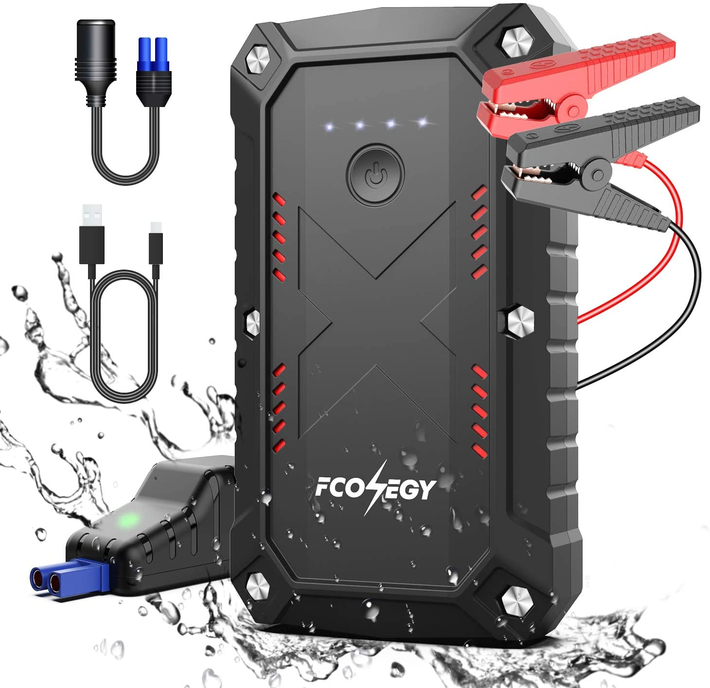 Car Jump Starter, FCONEGY 2000A Peak 23800mAh Portable Battery Starter for Car with Smart Safety Jumper Clamps Portable Power 12V Car Booster(up to 8.0L Gas & 7.0L Diesel car) Dual USB Quick Charge