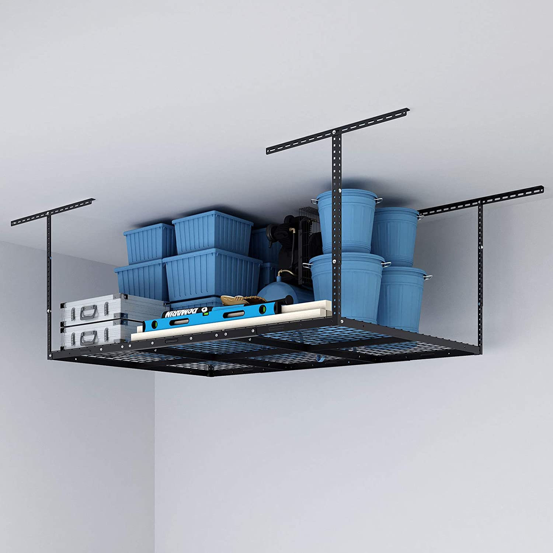"FLEXIMOUNTS 4x6 Heavy Duty Overhead Garage Adjustable Ceiling Storage Rack, 72"" Length x 48"" Width x 40"" Height (Black)"