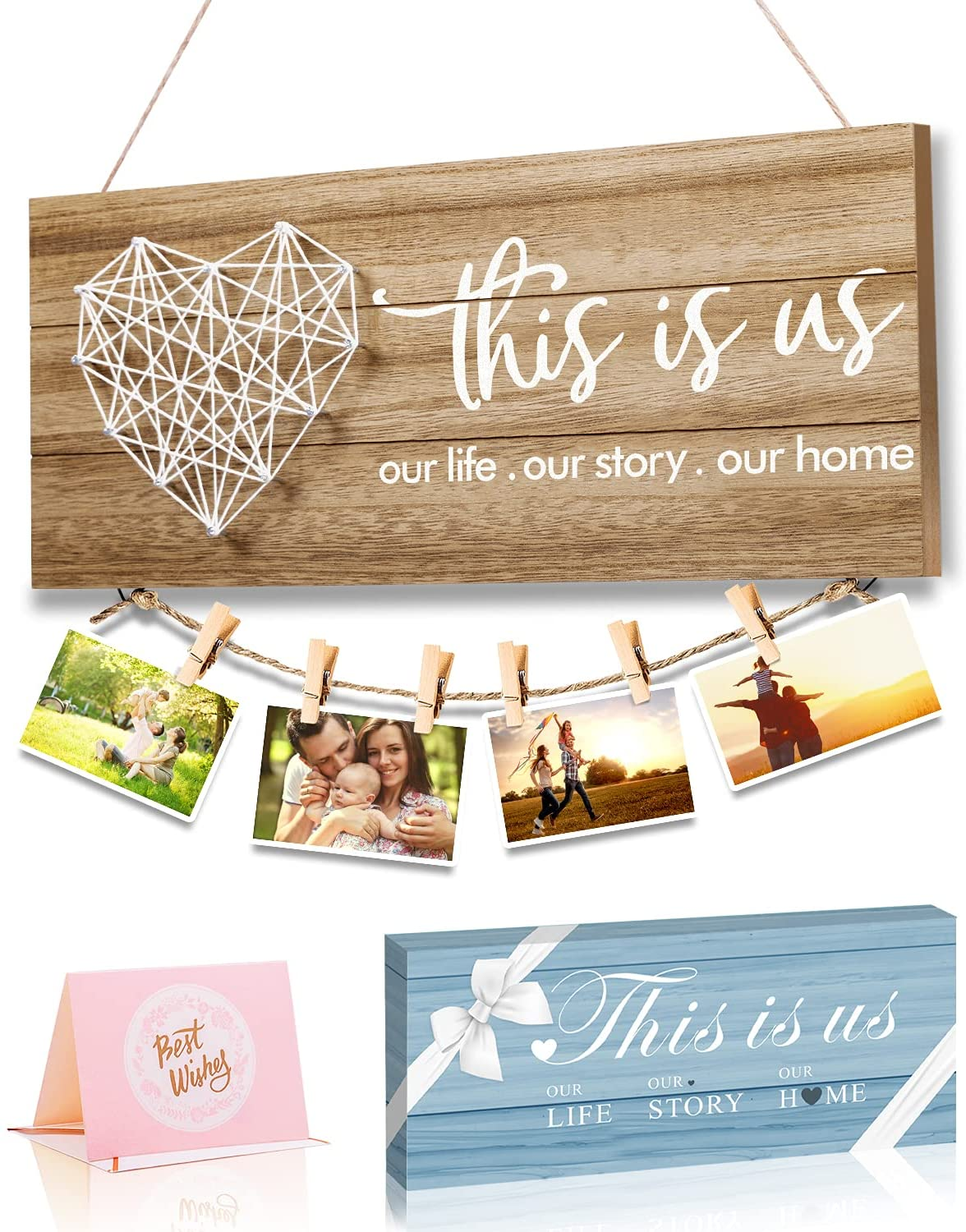 Home Decor New Home Gifts -This is Us- Home Sign for Rustic Farmhouse Wall Living Room with Clips and Twine for Picture Hanging, Gifts for Housewarming New Homeowners (Beech)