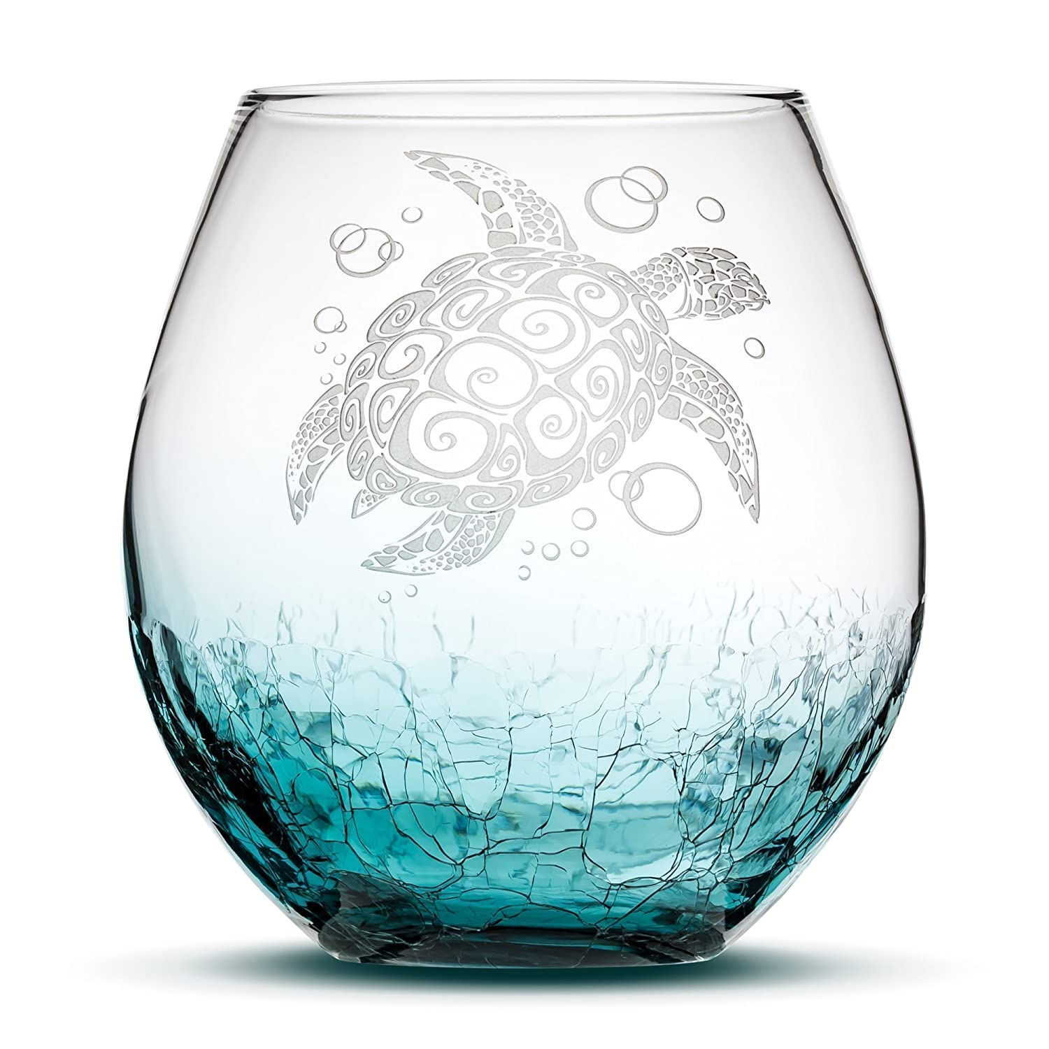 Integrity Bottles Sea Turtle Stemless Wine Glass, Crackle Teal, Handblown, Tribal Design, Hand Etched Gifts, Sand Carved