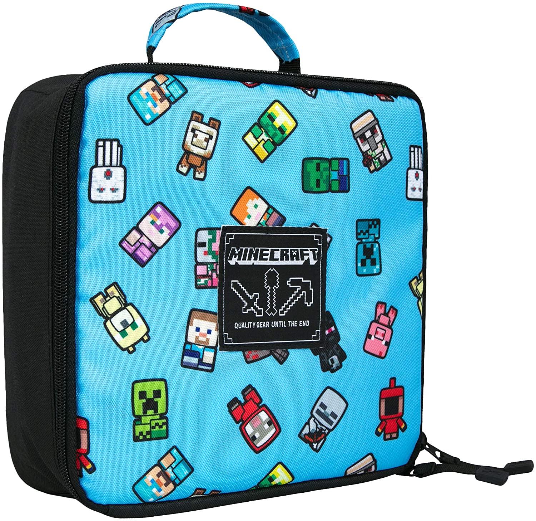"JINX Minecraft Bobble Mobs Insulated Kids School Lunch Box, Blue, 8.5""x 4"""