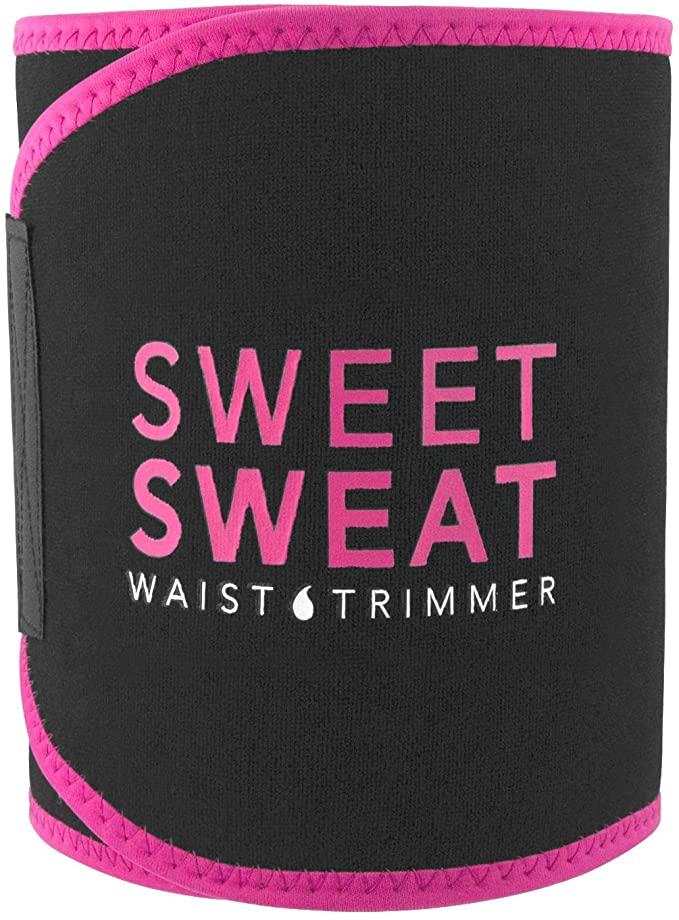 Sweet Sweat Waist Trimmer - Black/Pink   Premium Waist Trainer Sauna Belt for Men & Women