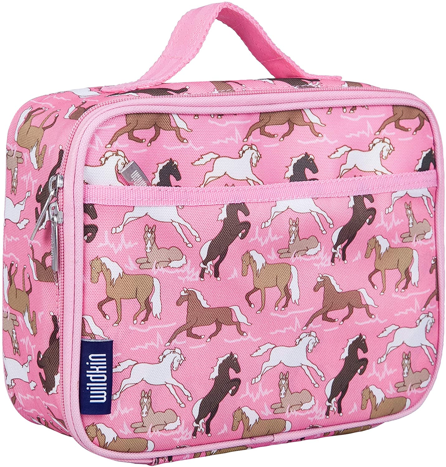 Wildkin Kids Insulated Lunch Box Bag for Boys and Girls, Perfect Size for Packing Hot or Cold Snacks for School and Travel, Mom's Choice Award Winner, BPA-free, Olive Kids (Horses in Pink)