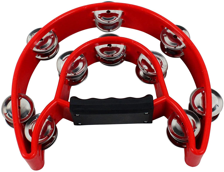 YMC Half Moon EZ Grip Tambourine 20 Jingles - Red