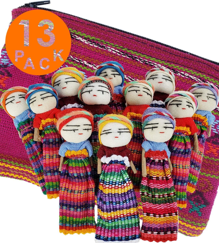 12 Super Cute Worry Dolls + 1 Free Guatemala Fabric Bag - Handmade Worry Doll for Our Guatemala Worry Dolls Set - Worry Dolls Guatemala - Guatemalan - Guatamalen