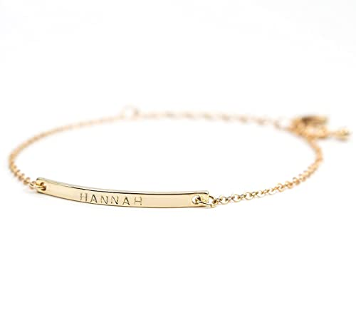 16K Gold Your Name Bar Bracelet - Personalized gift Gold Plated bar Delicate Hand Stamp Best bridesmaid Wedding Graduation Gift