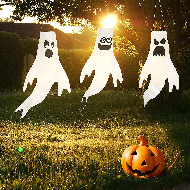 "18"" Halloween Ghost Windsock (3 Packs), Halloween Hang Decorations, Outdoor, Lawn Decor"