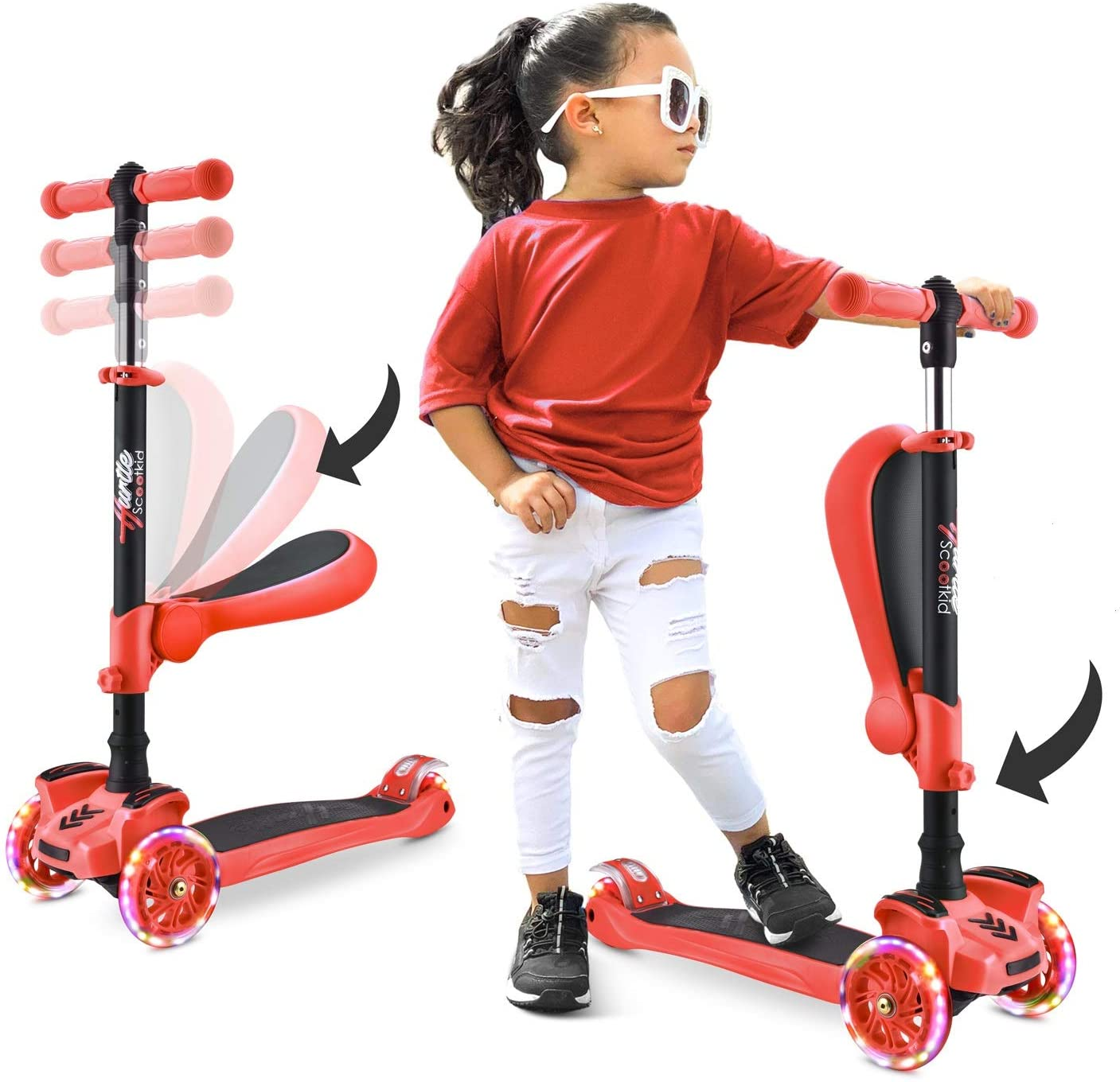 3 Wheeled Scooter for Kids - Stand & Cruise Child/Toddlers Toy Folding Kick Scooters w/Adjustable Height, Anti-Slip Deck, Flashing Wheel Lights, for Boys/Girls 2-12 Year Old - Hurtle HURFS56