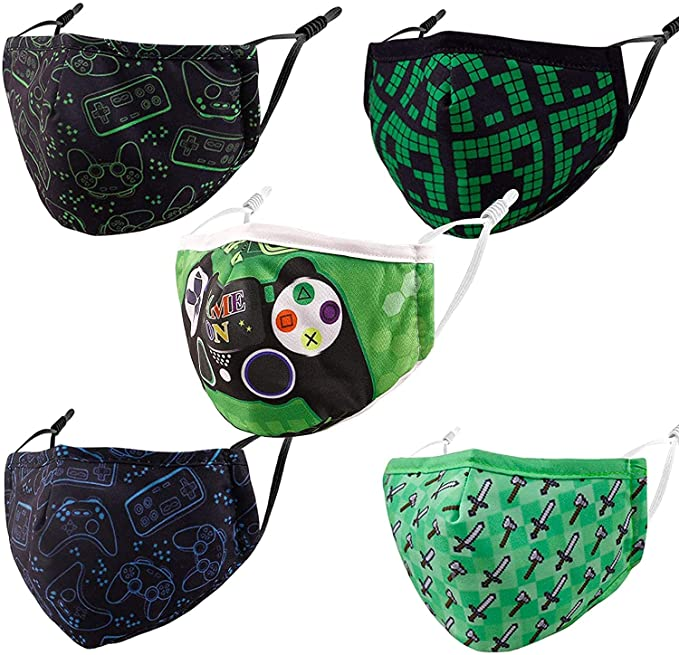 5 Pcs Reusable & Washable Face Masks, Adjustable Cover for Outdoor Sport