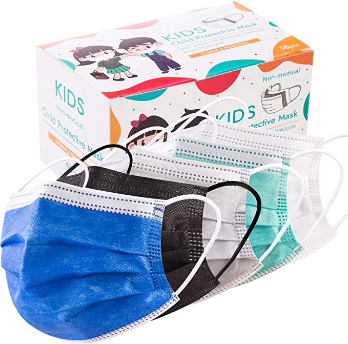 50PCS Disposable Face Masks,Unisex Adult Kids Face Mask 3 Layer Breathable Facial Covers for Men Women and Girls, Boys