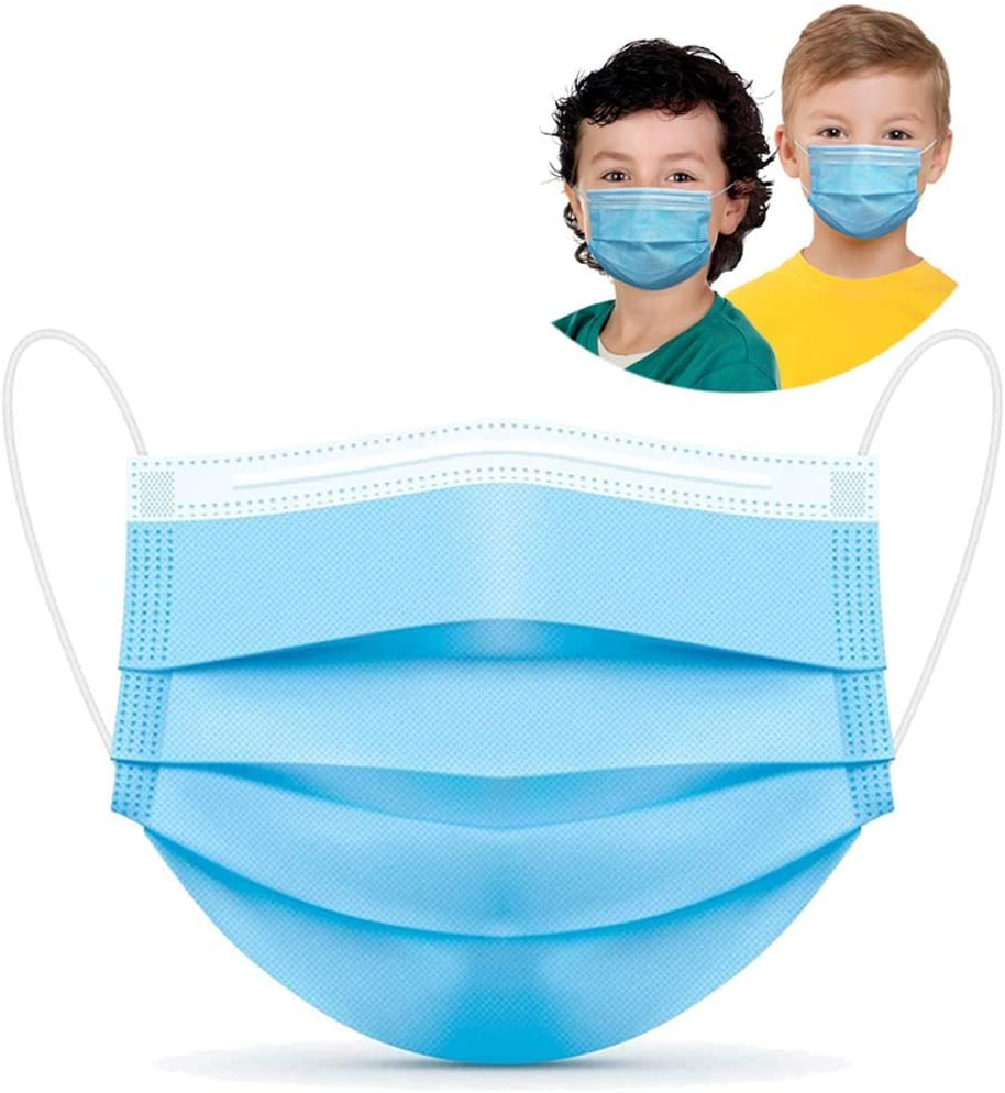 50Pcs Kids Face Mask Disposable 3 Ply Safety Face Mask-with Nanofiber Filter Lining-Ages, Soft Skin Layer,4-12 Children Face Mask (Blue 50 pcs)