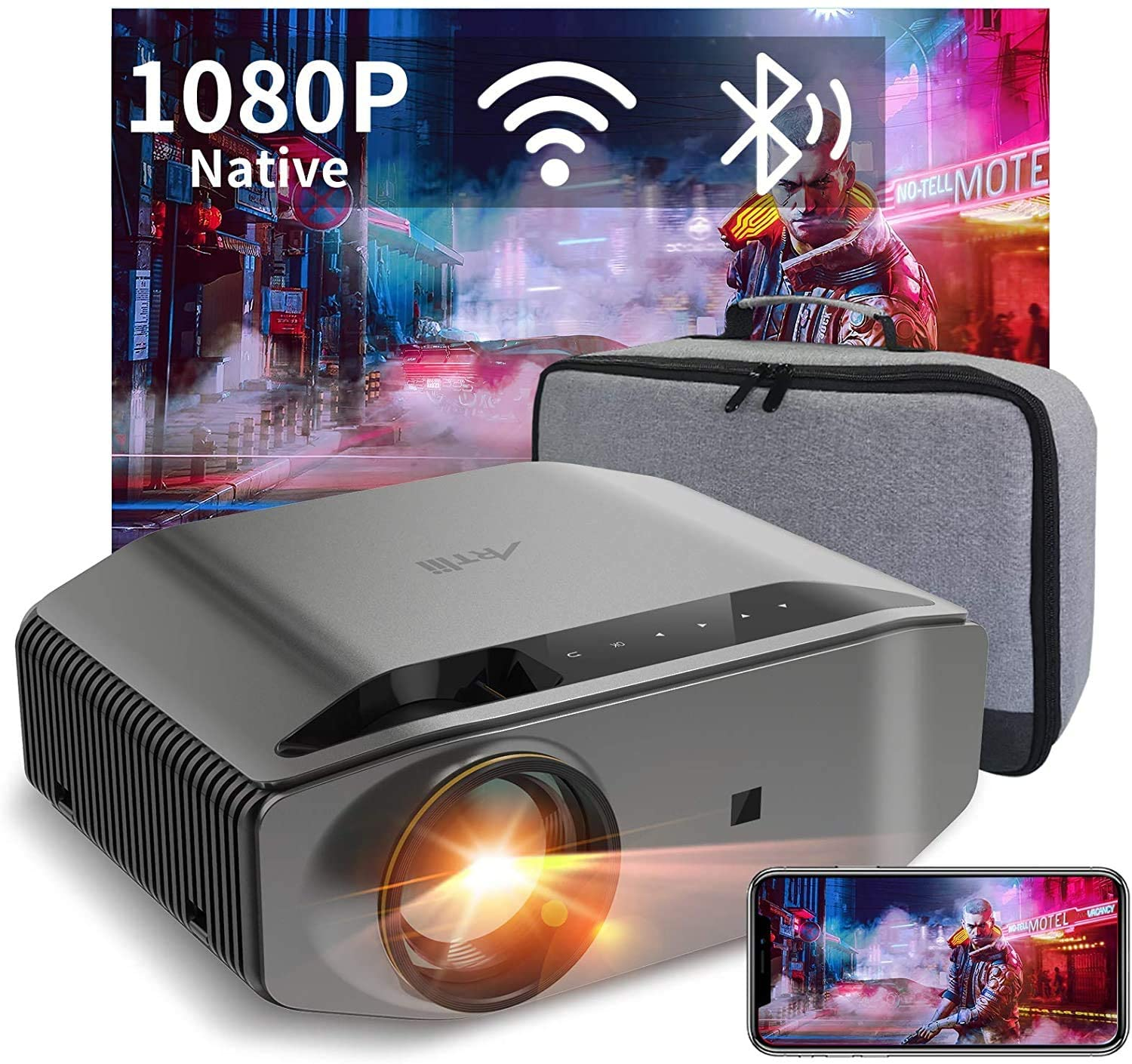 """5G WiFi Bluetooth Projector, Artlii Energon 2 Outdoor Projector Support 4K, 340 ANSI Lumen 250"""" Display, Keystone&Zoom, Full HD Native 1080P Projector Compatible w/ TV Stick, iOS, Android, PS5"""