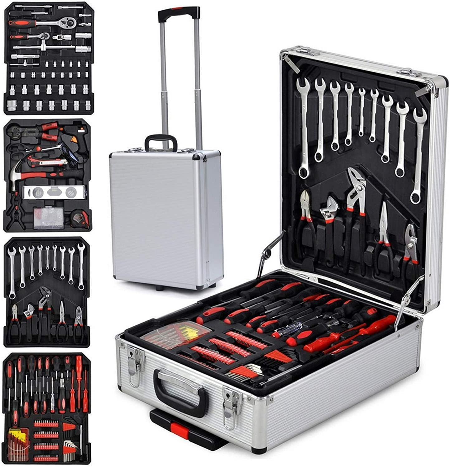 799Pieces Household Tool kit Auto Repair Tool Set Aluminum Trolley Case Tool Set General Hand Tool Set with Hammer, Plier, Screwdriver Set, Socket Kit, Aluminum Trolley Case Tool Set(Silver)