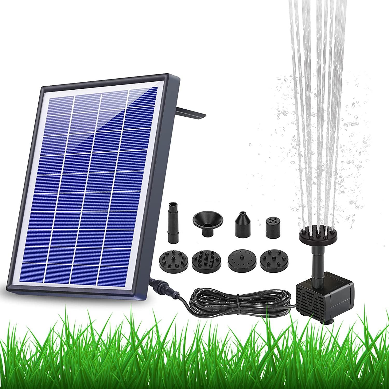 AISITIN 6.5W Solar Fountain Pump Built-in 1500mAh Battery, Solar Water Pump Floating Fountain with 6 Nozzles, for Bird Bath, Fish Tank, Pond or Garden Decoration Solar Aerator Pump