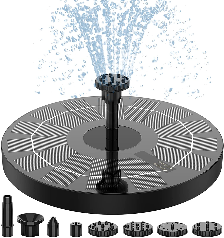 "AISITIN Solar Fountain Pump,2.5w 6.3"" Solar Powered Water Fountain Pump with 6 Nozzles,Solar Birdbath Floating Fountain for Garden,Ponds, Fish Tank,Outdoor and Aquarium"