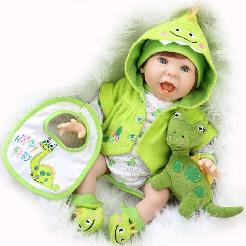 Aori Reborn Baby Doll 22 Inch Handmade Realistic Laughing Boy Dolls with Green Dinosaur Outfits and Accessories