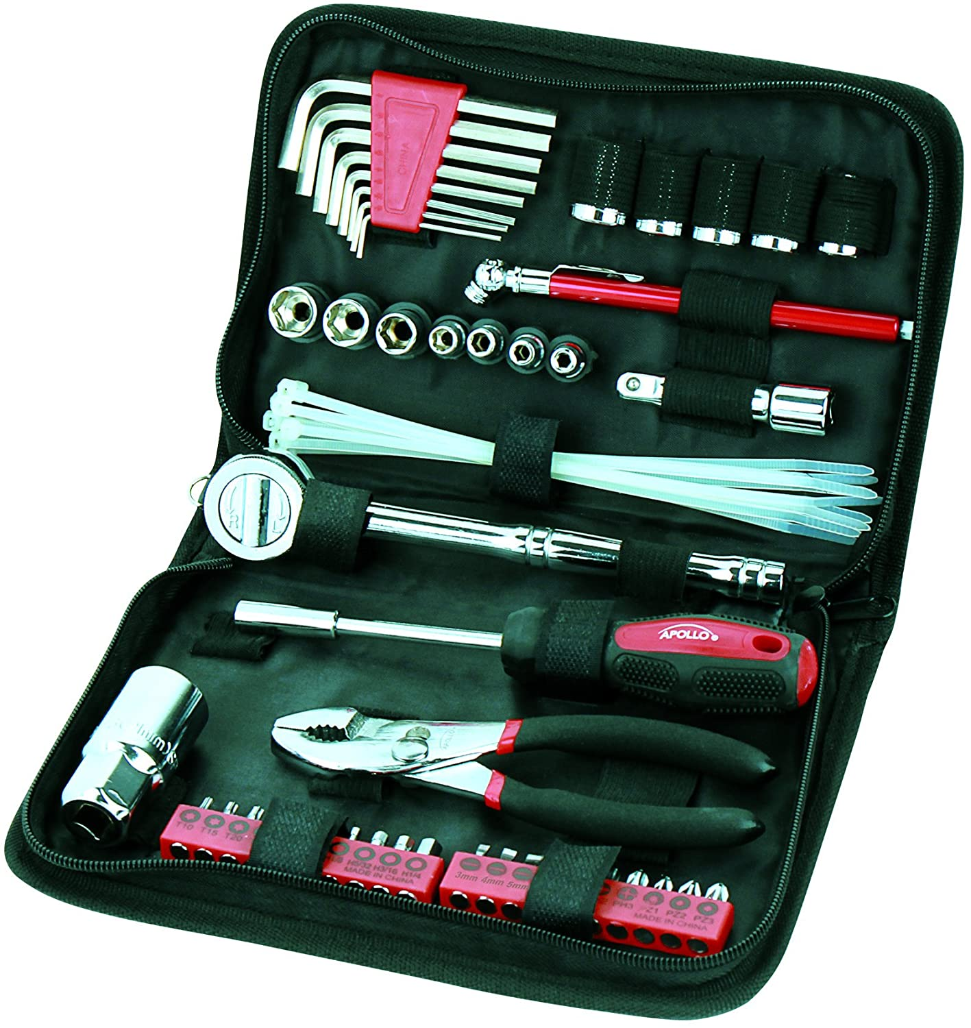 APOLLO TOOLS 56 Piece Compact Metric Auto Tool Set in Zippered Case, Small Mechanic Tool Set for Car Emergency, Motorcycle Repair on the Road, and Travel Tool Needs - DT9775 , Pink