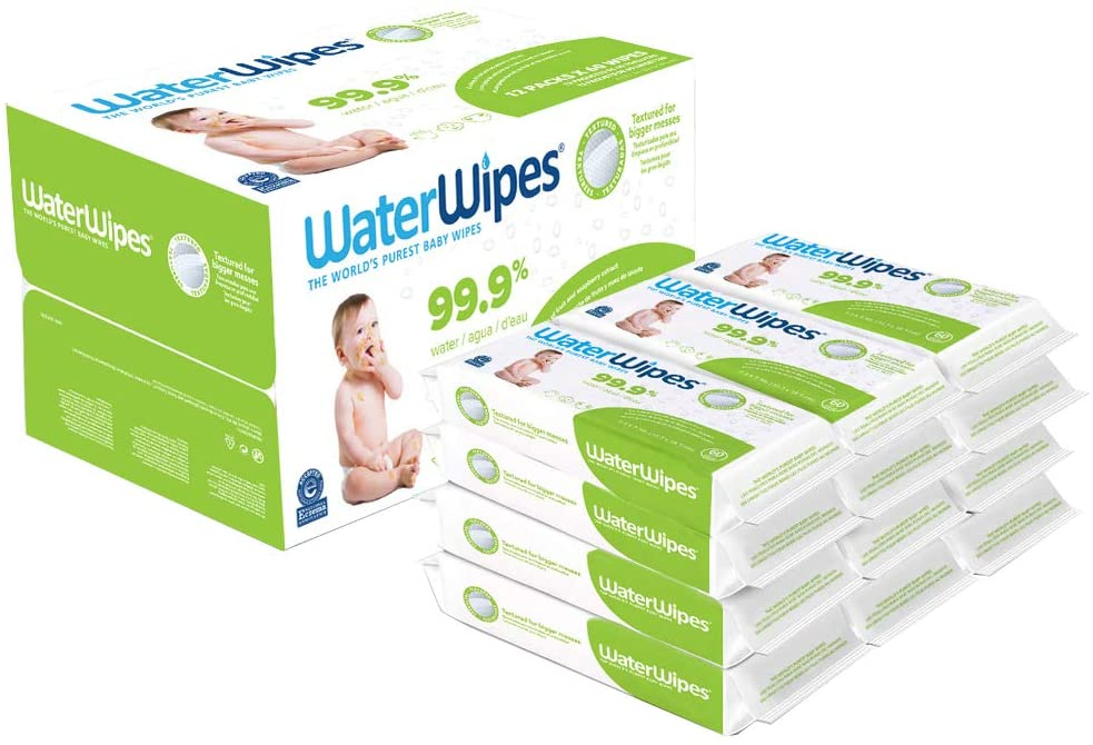 Baby Wipes, WaterWipes Textured Sensitive Baby Diaper Wipes, 99.9% Water, Unscented & Hypoallergenic, for Baby & Toddlers, 12 Packs (720 Count)