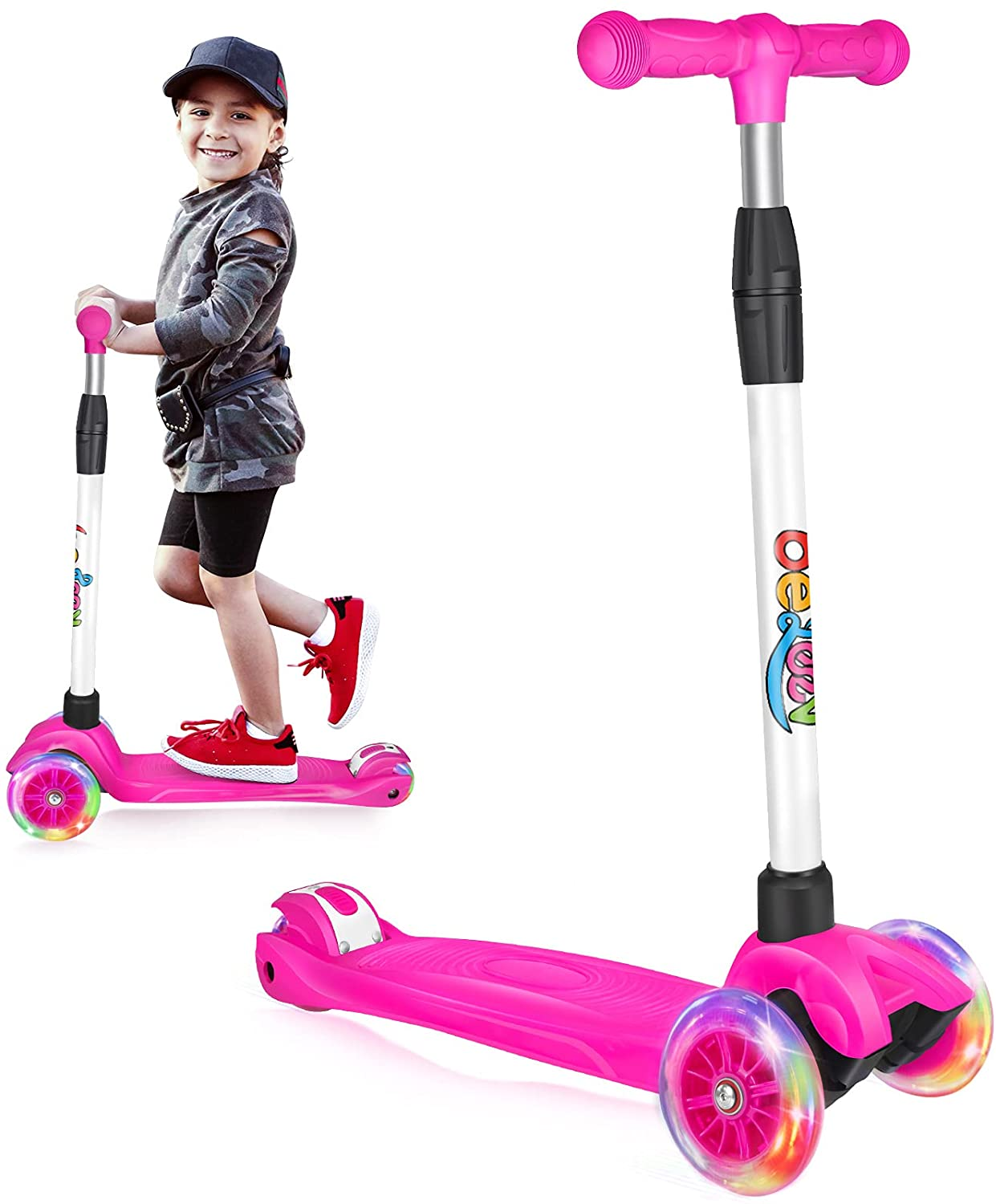 Beleev Scooters for Kids 3 Wheel Kick Scooter for Toddlers Girls & Boys, 4 Adjustable Height, Lean to Steer, Extra-Wide Deck, Light Up Wheels for Children from 3 to 14 Years Old