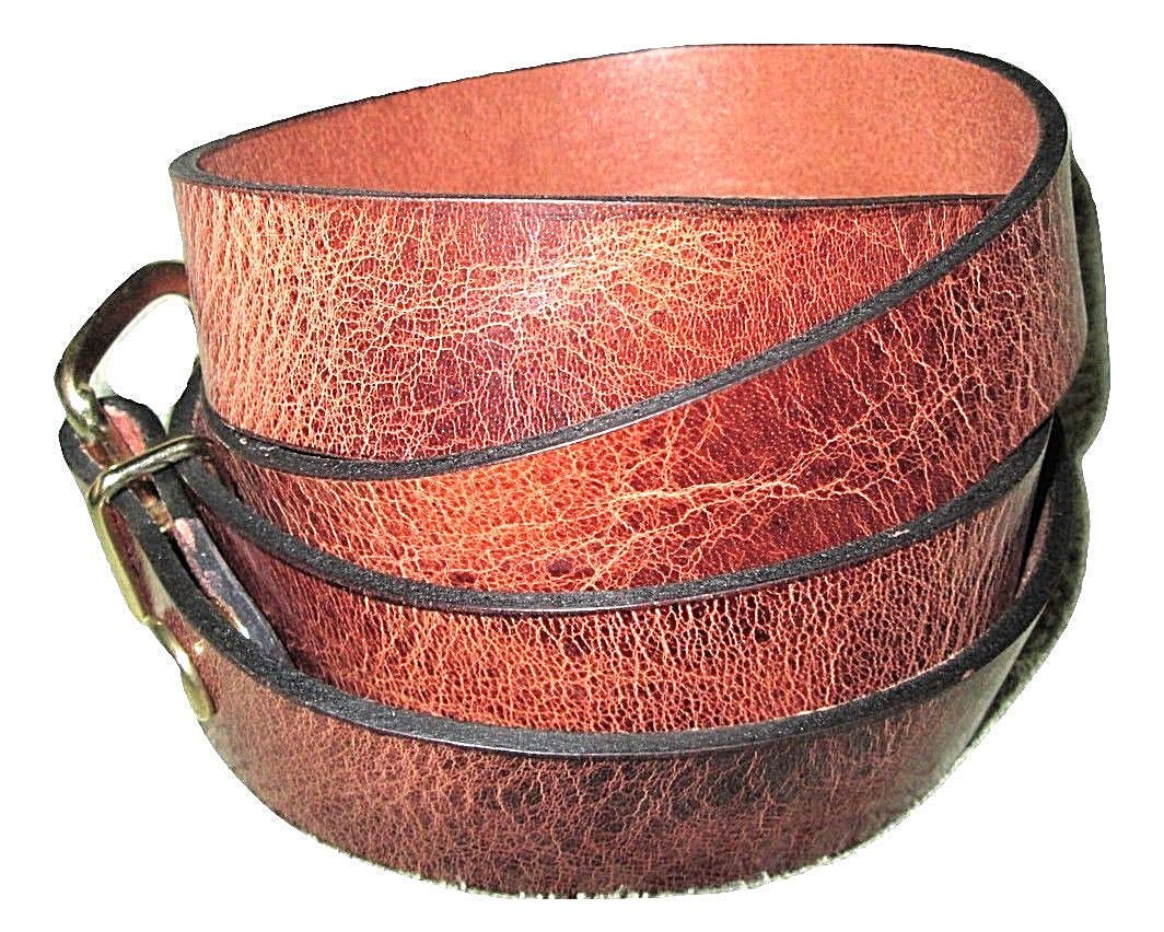 """BELT * LEATHER * TAN MARBLE * 1-1/2"""" * 1-1/4"""" and 1"""" Wide * WATER BUFFALO HIDE"""