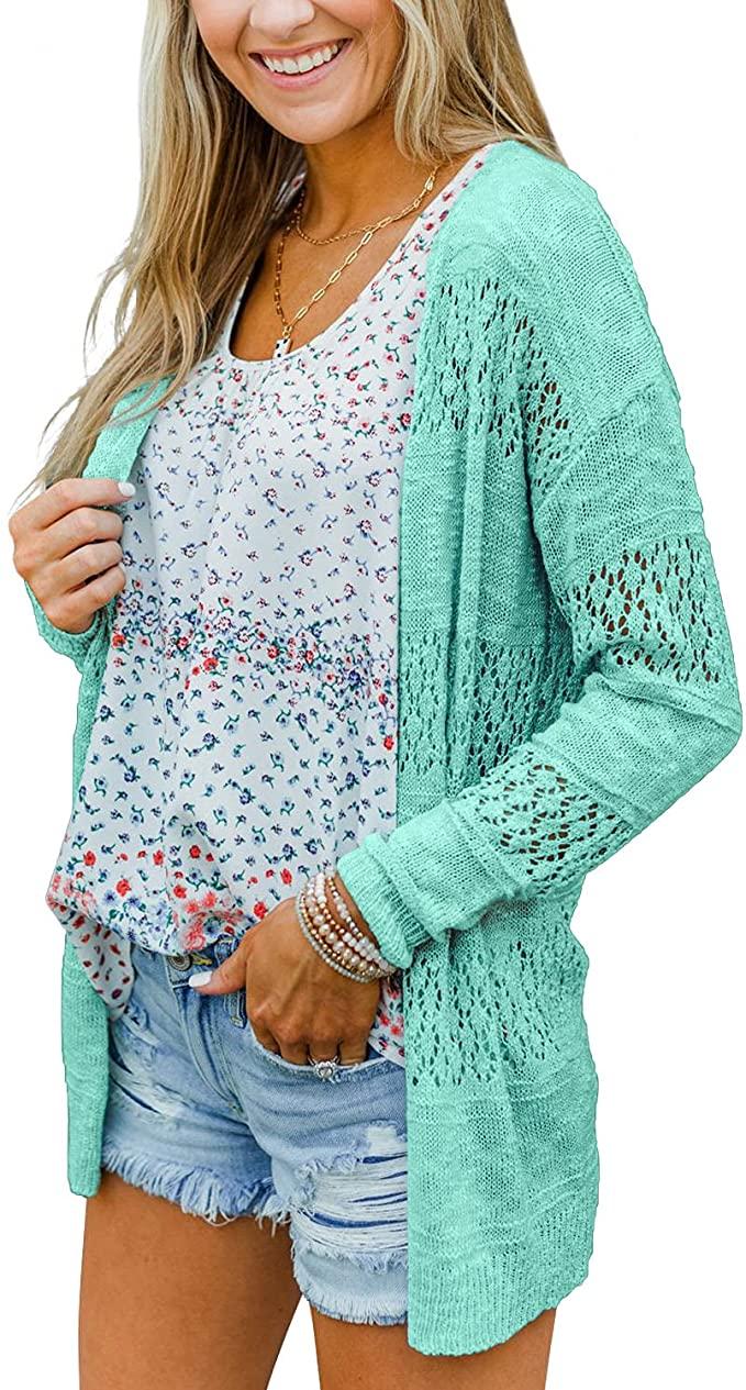 BESFLY Women's Knit-Cardigan Open Front Cardigan Sweater Casual Long Sleeve Mesh Crochet Coat