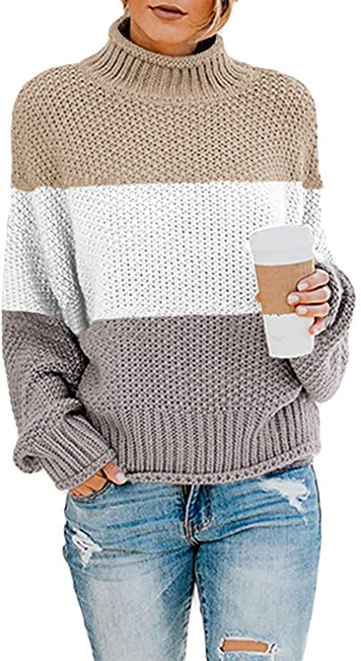 BLENCOT Womens Turtleneck Pullover Sweaters Batwing Long Sleeve Loose Chunky Knitted Jumpers Tops