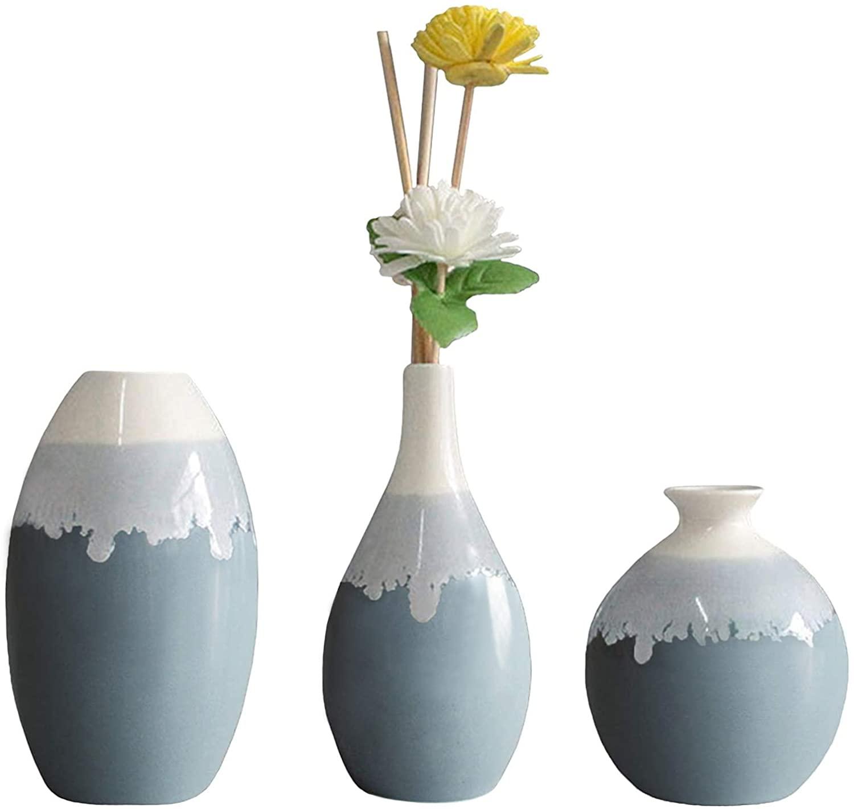 Ceramic Flower Vase, Anguipie Blue Ceramic Vase Set of 3, Small Decorative Vase, Unique Glazed Design Vases, Modern Flower Vase for Home Decor, Centerpieces, Living Room, Kitchen, Wedding