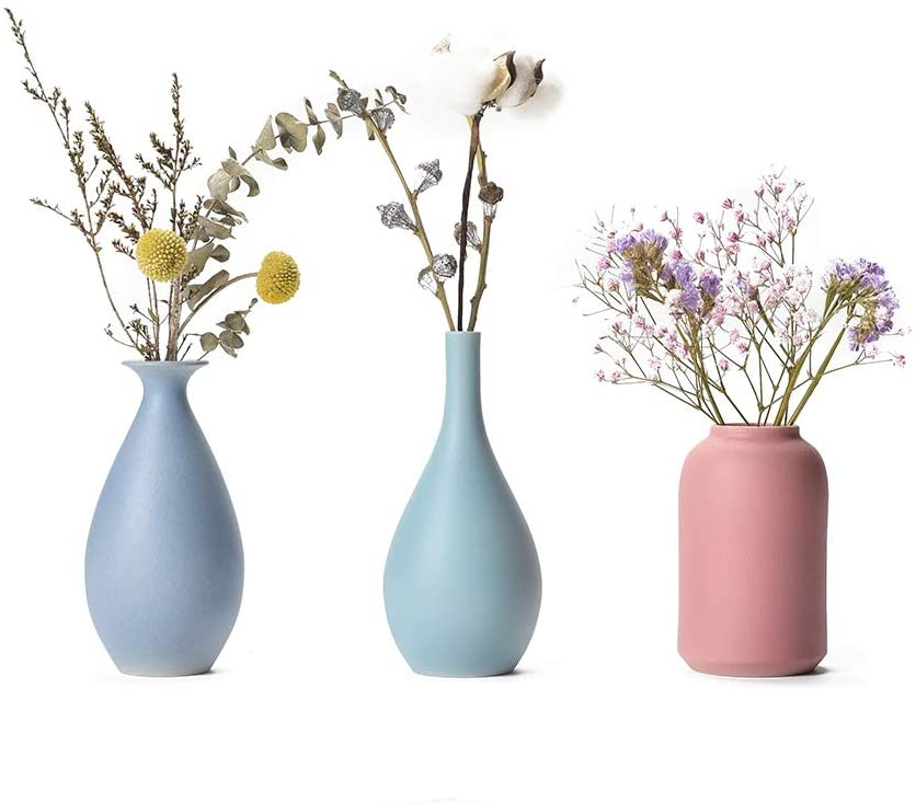 Colorful Ceramic Flower Vase Set of 3, Elegant Decorative Flower Vase for Home Decor Living Room, Home, Office,Table and Wedding,Centerpieces and Events.