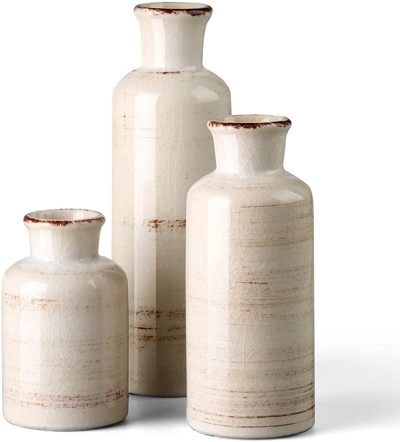 CwlwGO- Ceramic Rustic White Vase for Home Decor, Set of 3 Decorative Vases for Table, Kitchen, Living Room,Decorative Touch to Any room's Decor.Cracked Glass Glaze.