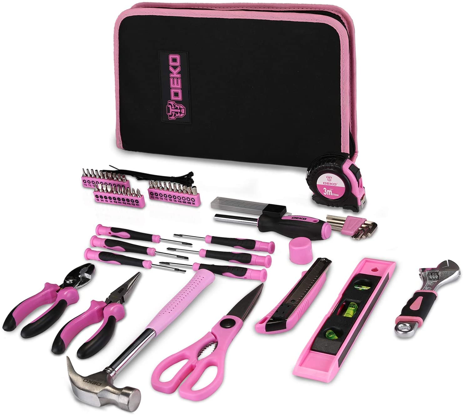 DEKO Pink 71 Piece Household Tool Kit,Ladies Portable Tool Set with Easy Carrying Pouch, Perfect for DIY Projects, Home Maintenance