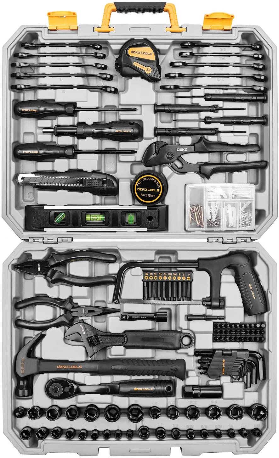 DEKOPRO 218-Piece General Household Hand Tool kit, Professional Auto Repair Tool Set for Homeowner, General Household Hand Tool Set with Plier, Screwdriver Set, Socket Set, with Portable Storage Case