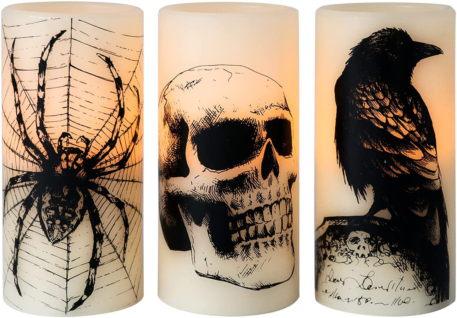 Eldnacele Halloween Flickering Candles with Skull, Spider Web, Crow Raven Decals Set of 3, Battery Operated Halloween Themed LED Candles Horror Spooky Decoration