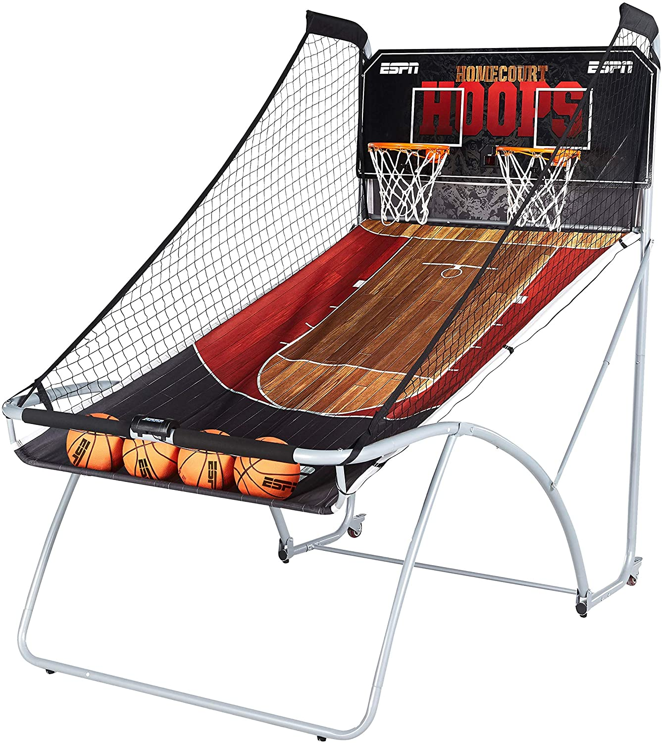 ESPN EZ Fold Indoor Basketball Game for 2 Players with LED Scoring and Arcade Sound Effects (6 Piece Set)