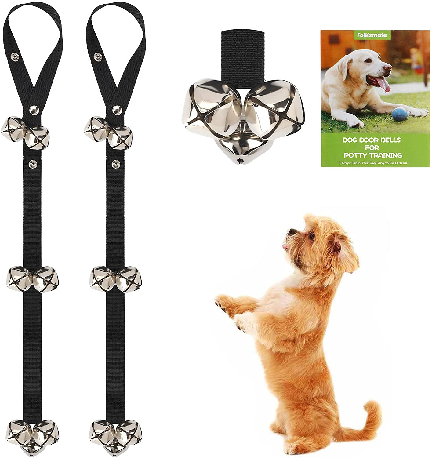 FOLKSMATE Dog Doorbells for Potty Training, 3 Snaps Adjustable Puppy Dog Door Bells with 7 Extra Loud Bells for Dogs Training, Housebreaking, Door Knob, Ring to Go Outside Puppy Pet Supplies