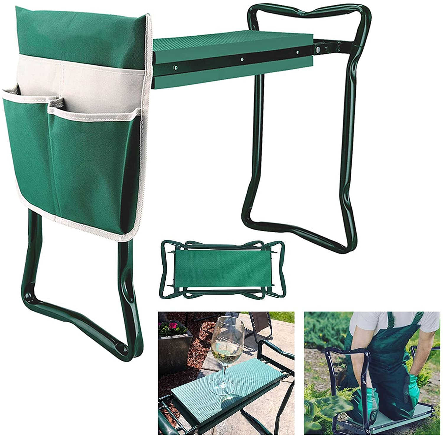 Garden Kneeler Seat with Upgraded Thicken Kneeling Pad and 1 Large Tool Pouch, Foldable Stool 330lb Capacity-Protects Your Knees, Clothes from Dirt & Grass Stains by BDL