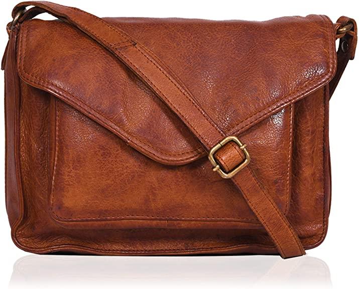 Genuine Leather Classic Flapover Crossbody Purse for Women Small Cute Tote/Bag