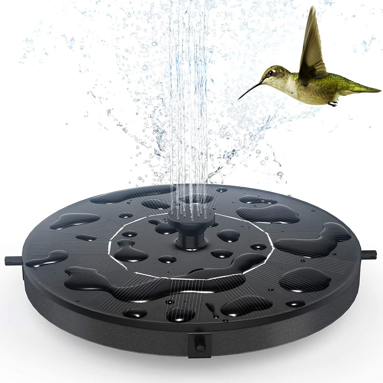 GOLDFLOWER Solar Fountain, Floating Solar Powered Water Fountain Pump for Bird Bath, Garden, Pond, Pool, Outdoor (1W)