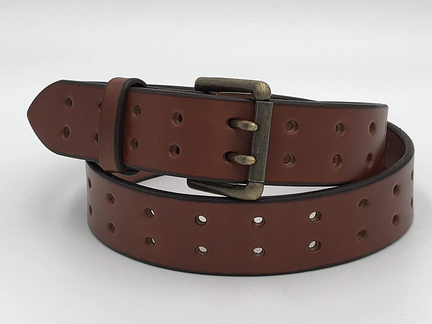 Handmade Double Hole Belt Genuine Bridle Leather 1.5 Inches Wide