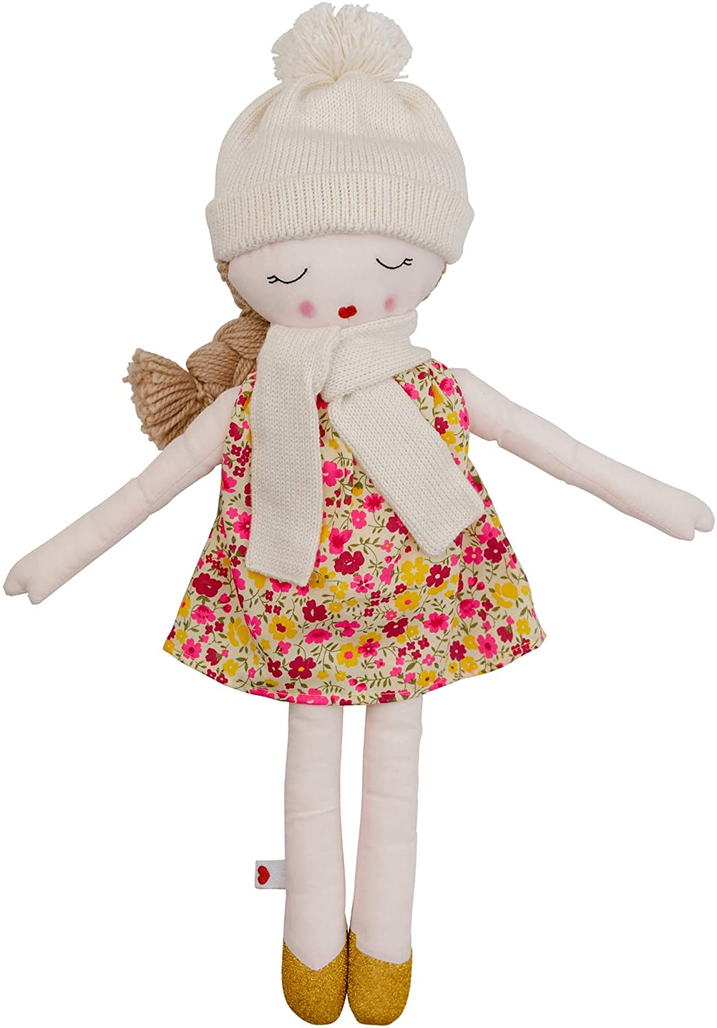 Hearts of Yarn Autumn Plush Handmade Doll for Girls Soft Toy for Toddlers, Infants and Babies 19 inches Tall Extra Large, Handmade First Baby Doll and Toy Cute Nursery Room Decor