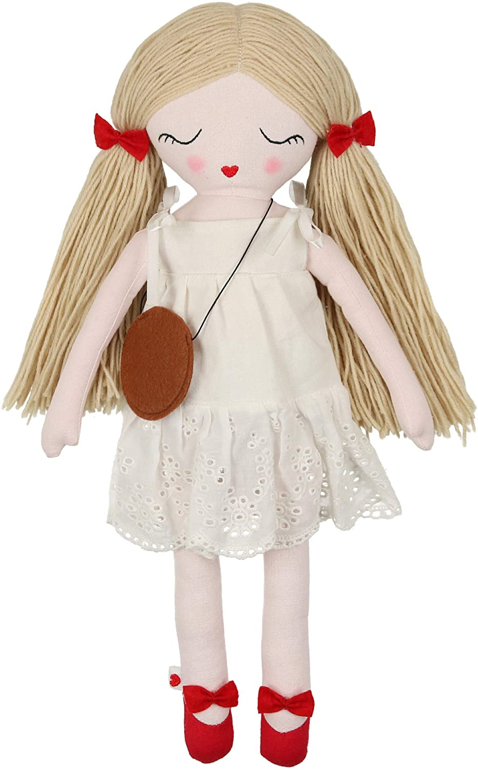 Hearts of Yarn Mila Plush Handmade Doll for Girls Soft Cuddle Toy for Toddlers, Infants & Babies 19 inches Tall Extra Large, Handmade First Baby Doll Cute Nursery Room Decor