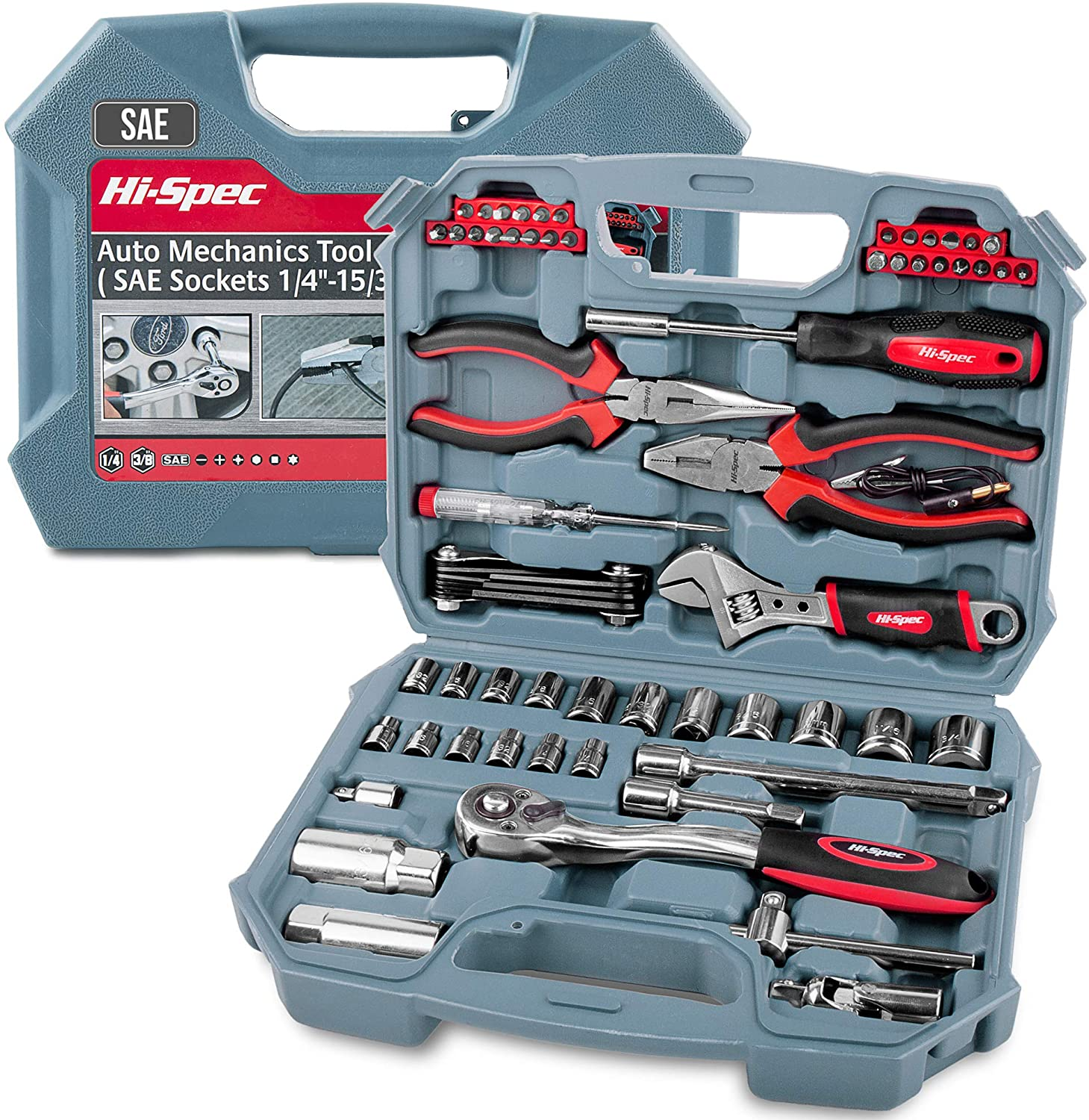 Hi-Spec 67 Piece Auto Mechanics Tool Kit Set with SAE Sockets. Car, Bike & Vehicle DIY Hand Tools for Repair & Maintenance. Complete in a Carry Case