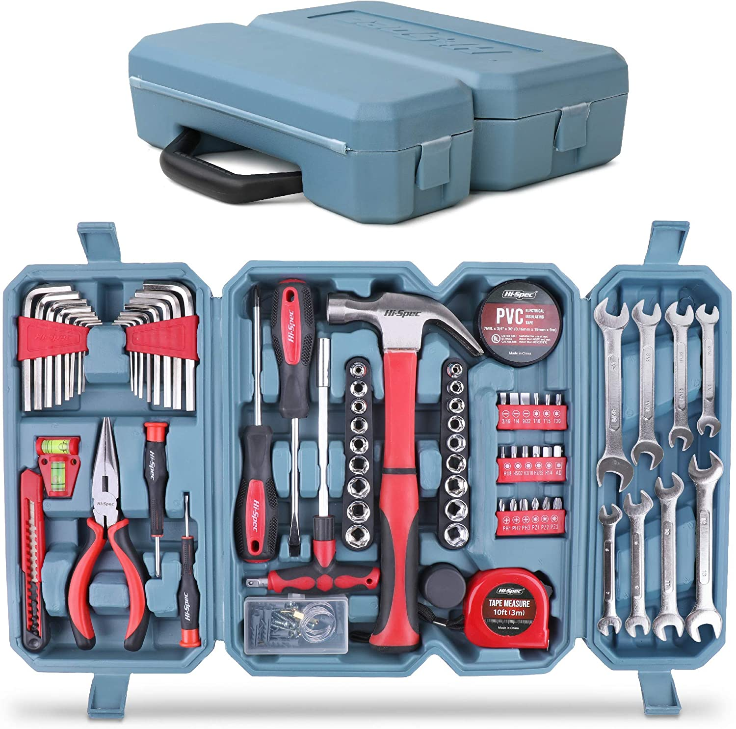 Hi-Spec 73 Piece Home & Garage Multi Tool Kit Set. Practical Hand Tools for DIY Repair & Maintenance in The Home, Garage and Workshop. All in a Swing-Door Carry Case