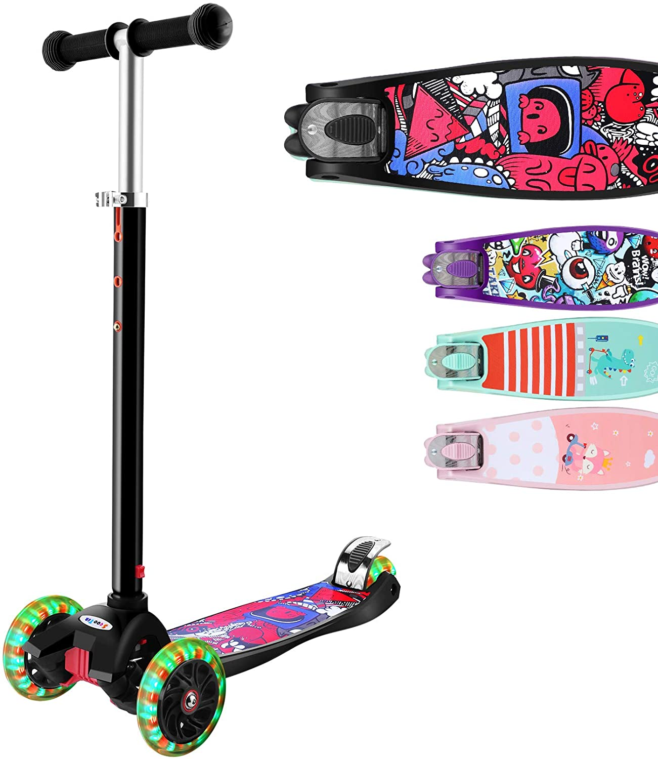 Hikole 3 Wheeled Scooter for Kids Girls & Boys with Adjustable Lean-to-Steer Handlebar, Extra-Wide Deck PU Flashing Wheels for Children 3-12 Years Old