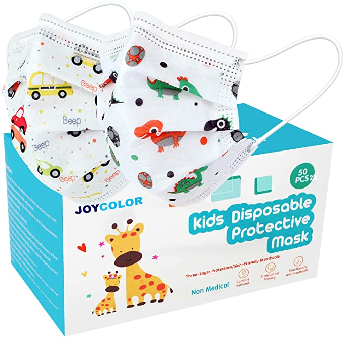 JOYCOLOR Cute kids face mask,Children's 3 Ply Protective Earloop Disposable Filter Masks
