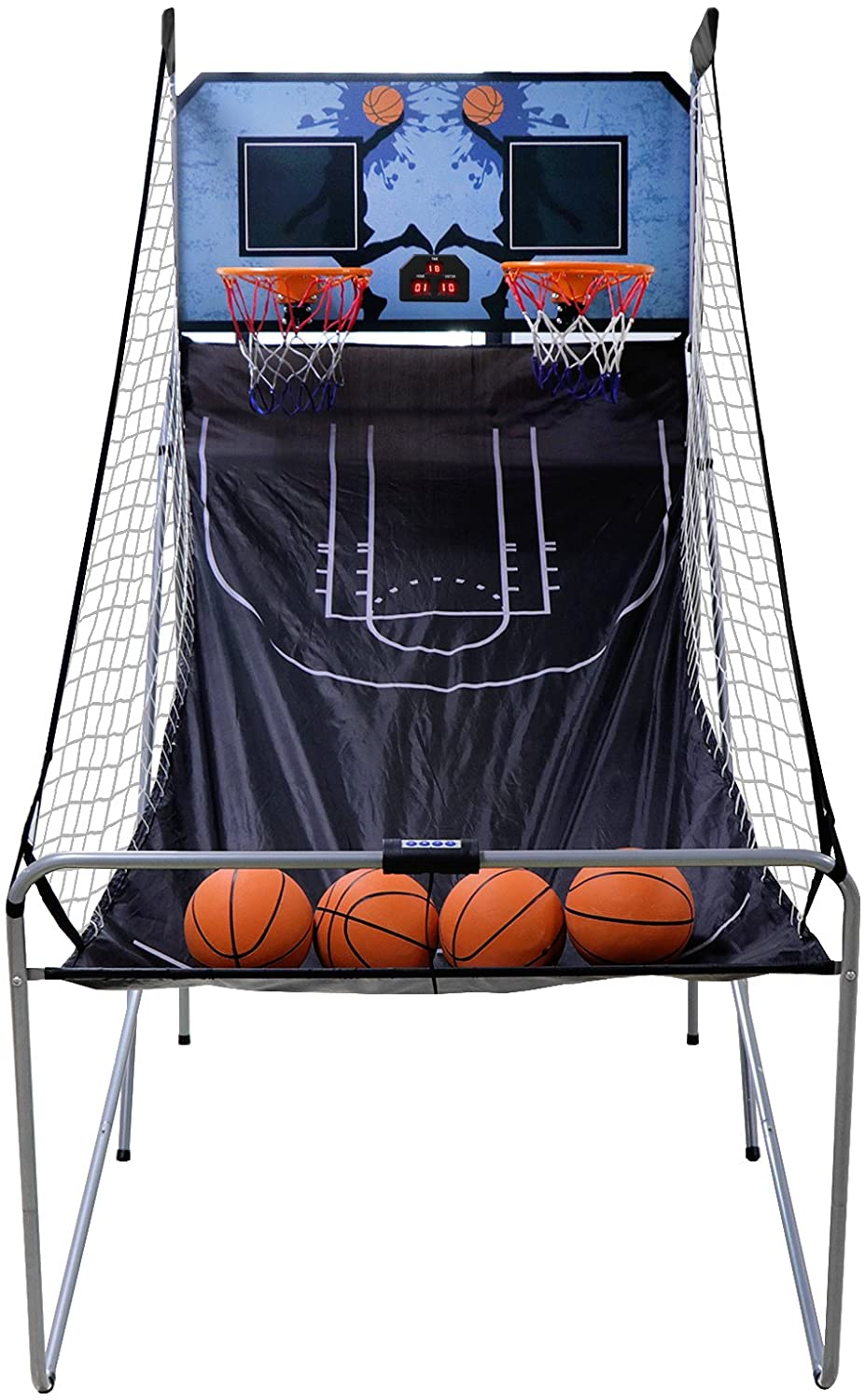 JupiterForce Foldable Indoor Basketball Game Arcade Game, Double Mode with LED Scoreboard