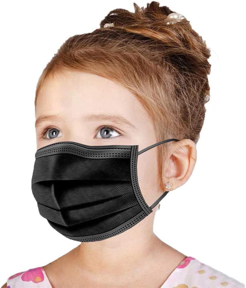 Kids Face Mask Disposable Black 50 PCS [US BRAND] Wanwane Ages 4-12 Childrens Breathable Safety Toddler Face Masks