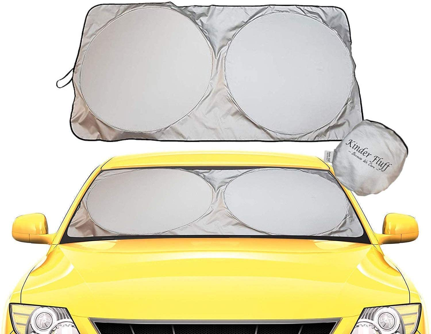 kinder Fluff Car Windshield Sun Shade with Storage Pouch | The only Certified Foldable Sunshade for car Windshield to Block 99.87% UV Rays | Keeping Car Interior Cooler | Sun Heat Protection (Large)