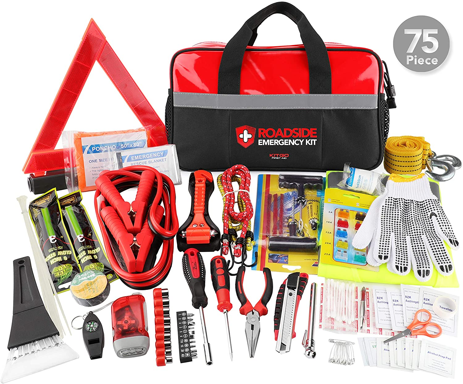 Kitgo Car Emergency Kit, Premium Roadside Assistance Essentials with Jumper Cables, Flashlight, Shovel, Screwdriver Set - Ideal Auto Road Safety Kit for Winter, Survival, Truck, RV and More (Red)