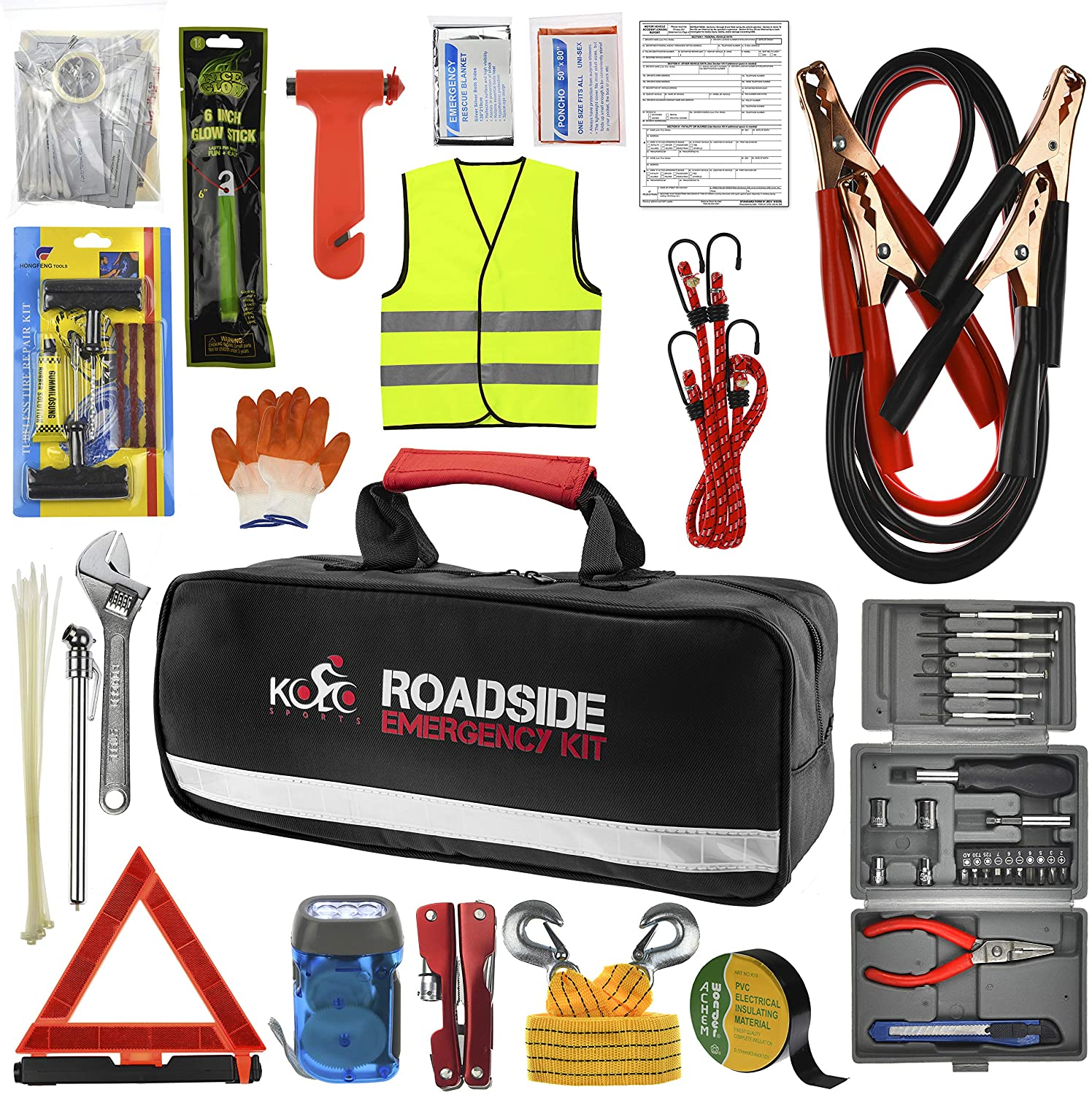 Kolo Sports Roadside Emergency Car Kit - 156-Piece Multipurpose Emergency Pack with Automotive Tools and First Aid Kit - Car Tool Kit Includes Heavy-Duty Jumper Cables and Tire Pressure Gauge